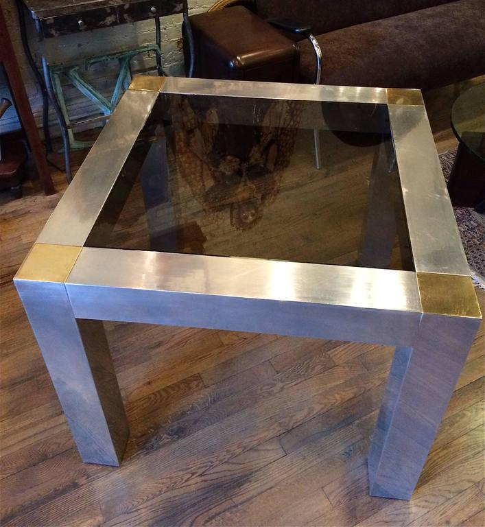 Modern Paul Evans Style Aluminum And Brass Parsons Card / Game Table 3
