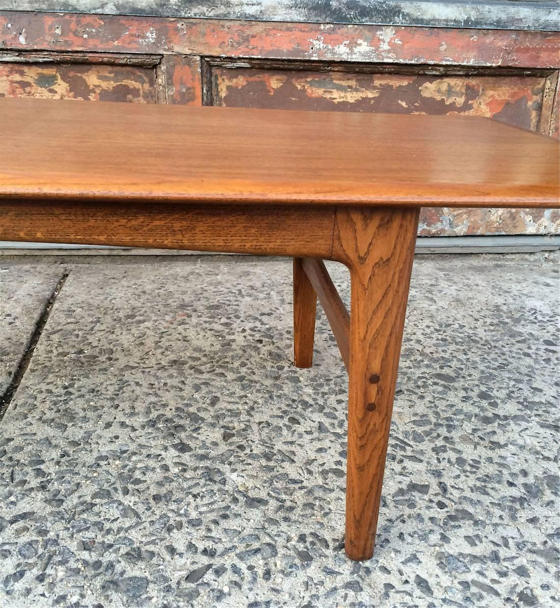 Stunning Teak And Chrome Contemporary Small Coffee Table: Danish Modern Hans Wegner Teak Coffee Table For Sale At