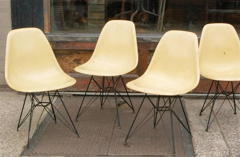 Set Of Four, Vintage, Yellow, Eames For Herman Miller Moulded Fiberglass  Side Chairs