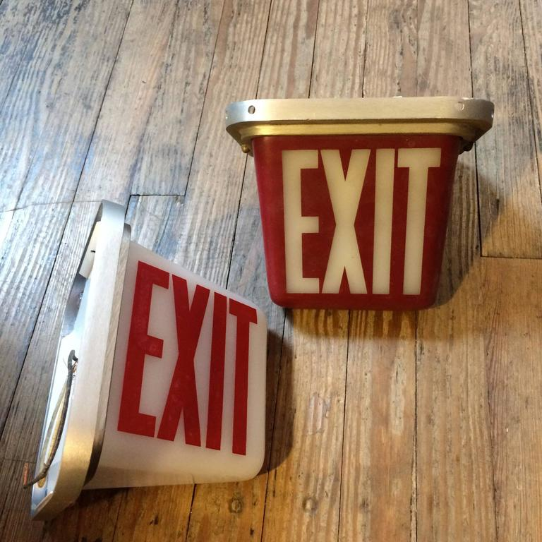 Mid-Century Flush Mount and Wall Sconce Double-Sided Exit Lights at 1stdibs