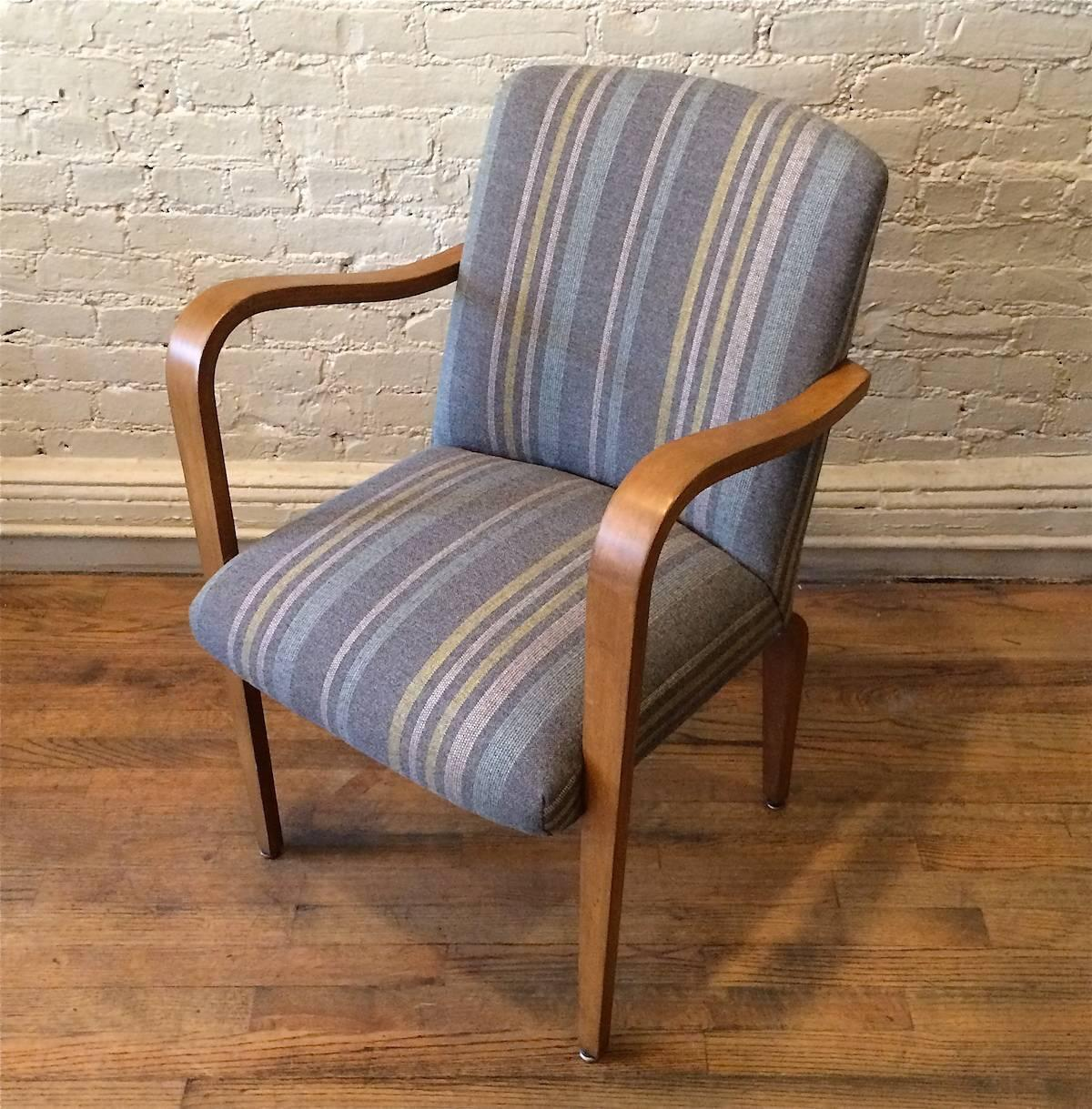 Upholstered Bentwood Maple Armchair By Thonet For Sale At