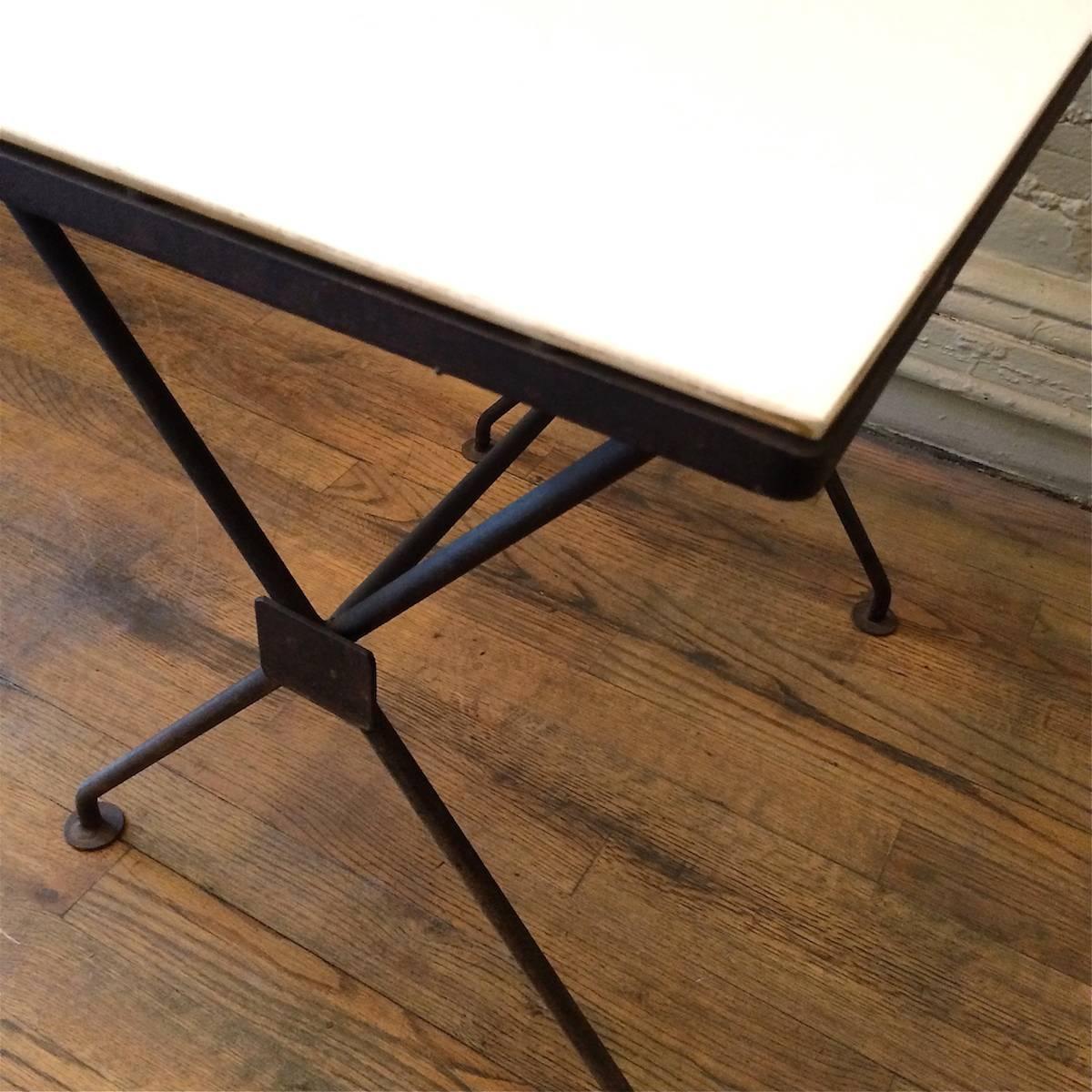 Mid century modern wrought iron and milk glass side table for Wrought iron and glass side tables