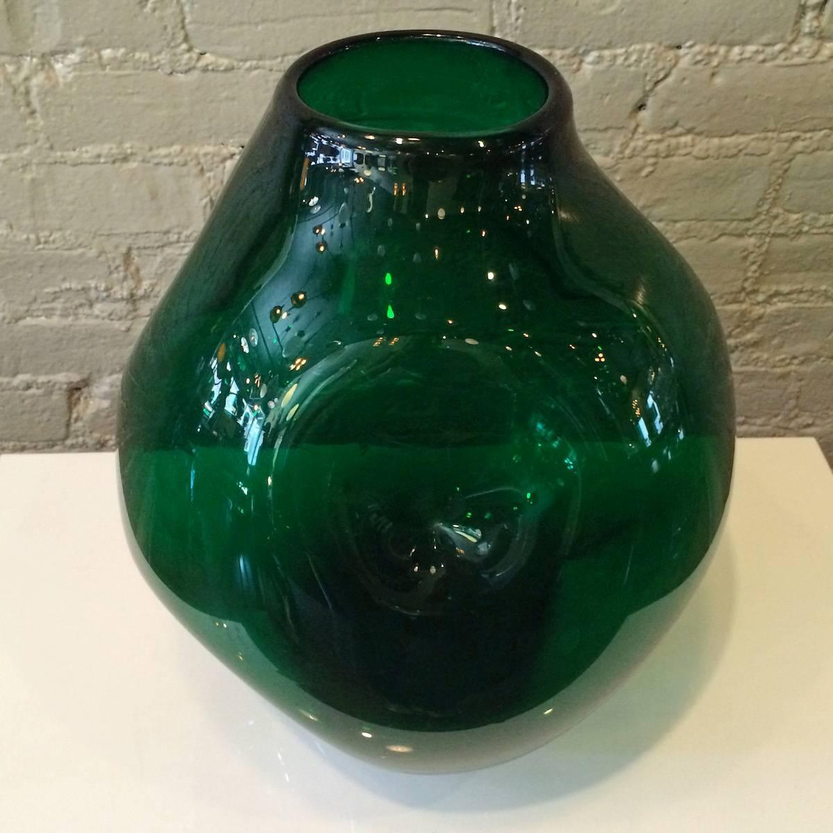 Large Glass Vessel : Very Large Dimpled Emerald Glass Vessel by Winslow Anderson for Blenko ...