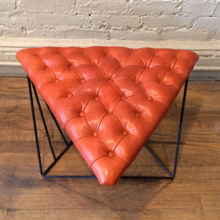 American Tufted Leather Wrought Iron Geometric Ottoman For Sale