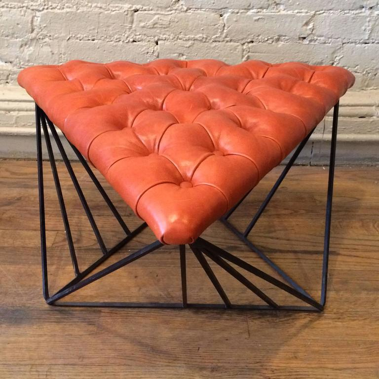 Tufted Leather Wrought Iron Geometric Ottoman In Good Condition For Sale In Brooklyn, NY