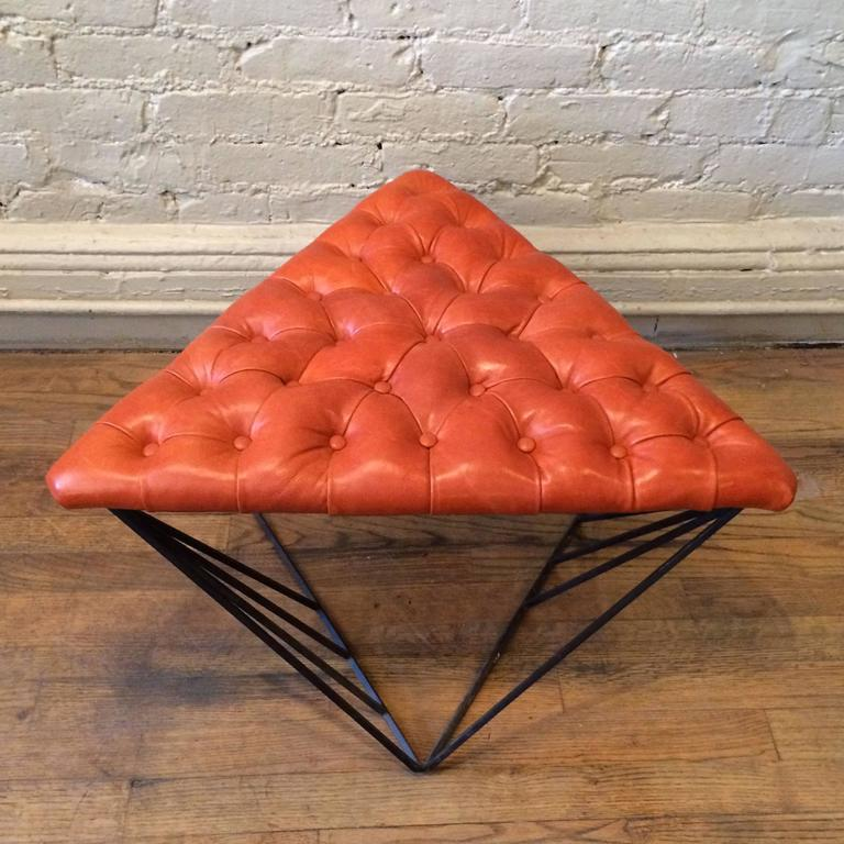 Mid-20th Century Tufted Leather Wrought Iron Geometric Ottoman For Sale