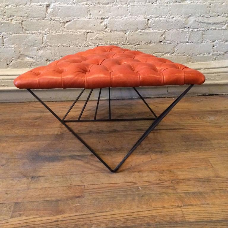 Tufted Leather Wrought Iron Geometric Ottoman For Sale 2