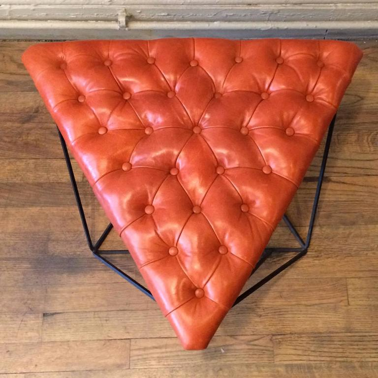 Tufted Leather Wrought Iron Geometric Ottoman For Sale 3