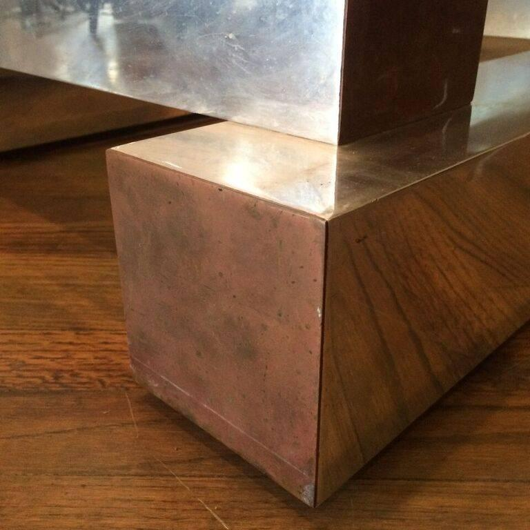 Aluminum Brass and Glass Architectural Coffee Table in the Style of Paul Evans For Sale 1