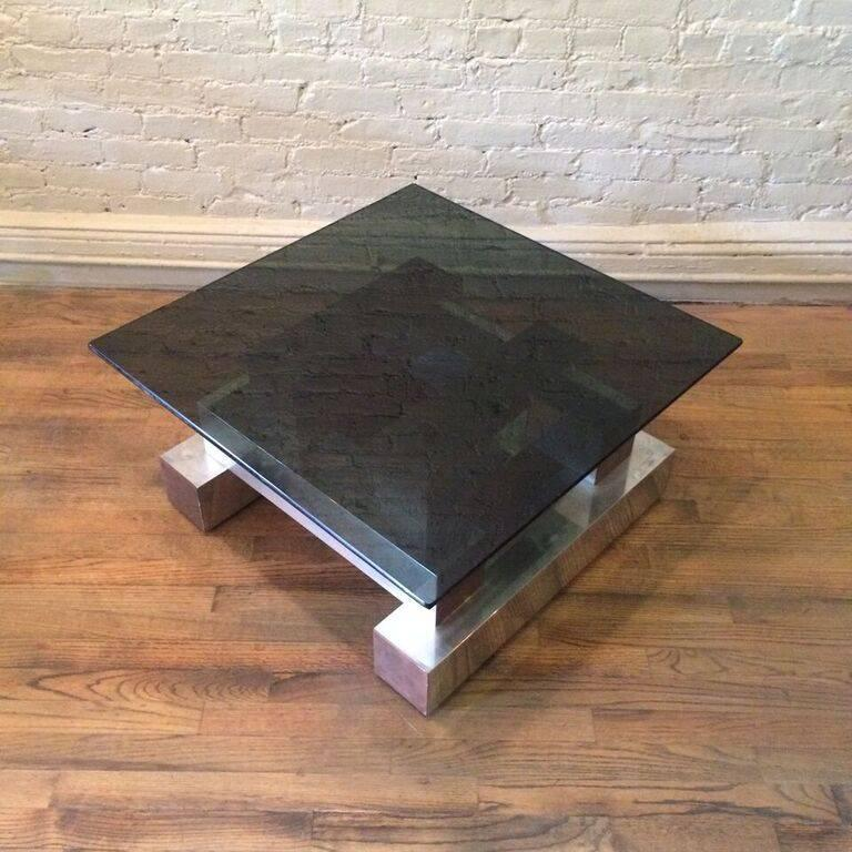 Aluminum Brass and Glass Architectural Coffee Table in the Style of Paul Evans 2