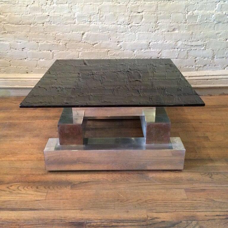 Mid-Century Modern Aluminum Brass and Glass Architectural Coffee Table in the Style of Paul Evans For Sale