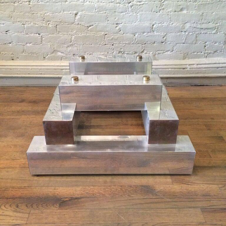 Aluminum Brass and Glass Architectural Coffee Table in the Style of Paul Evans In Good Condition For Sale In Brooklyn, NY