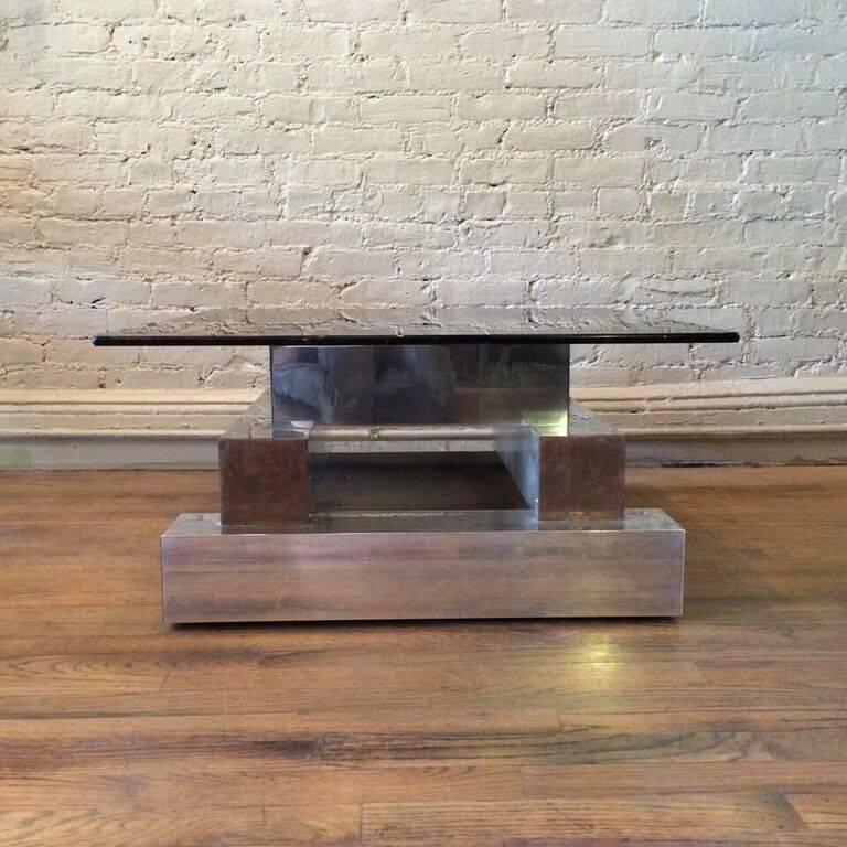 American Aluminum Brass and Glass Architectural Coffee Table in the Style of Paul Evans For Sale