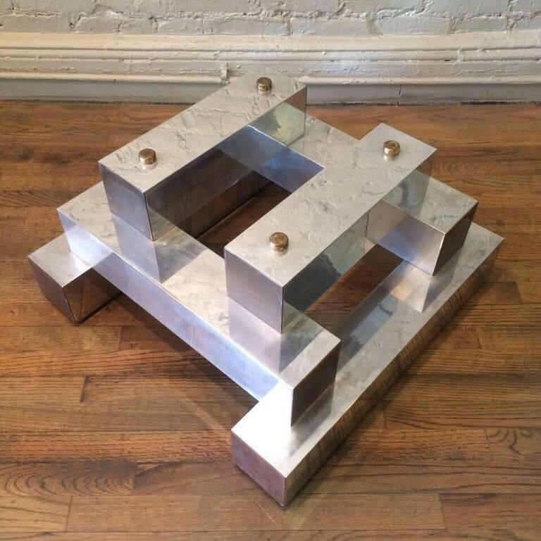 Late 20th Century Aluminum Brass and Glass Architectural Coffee Table in the Style of Paul Evans For Sale