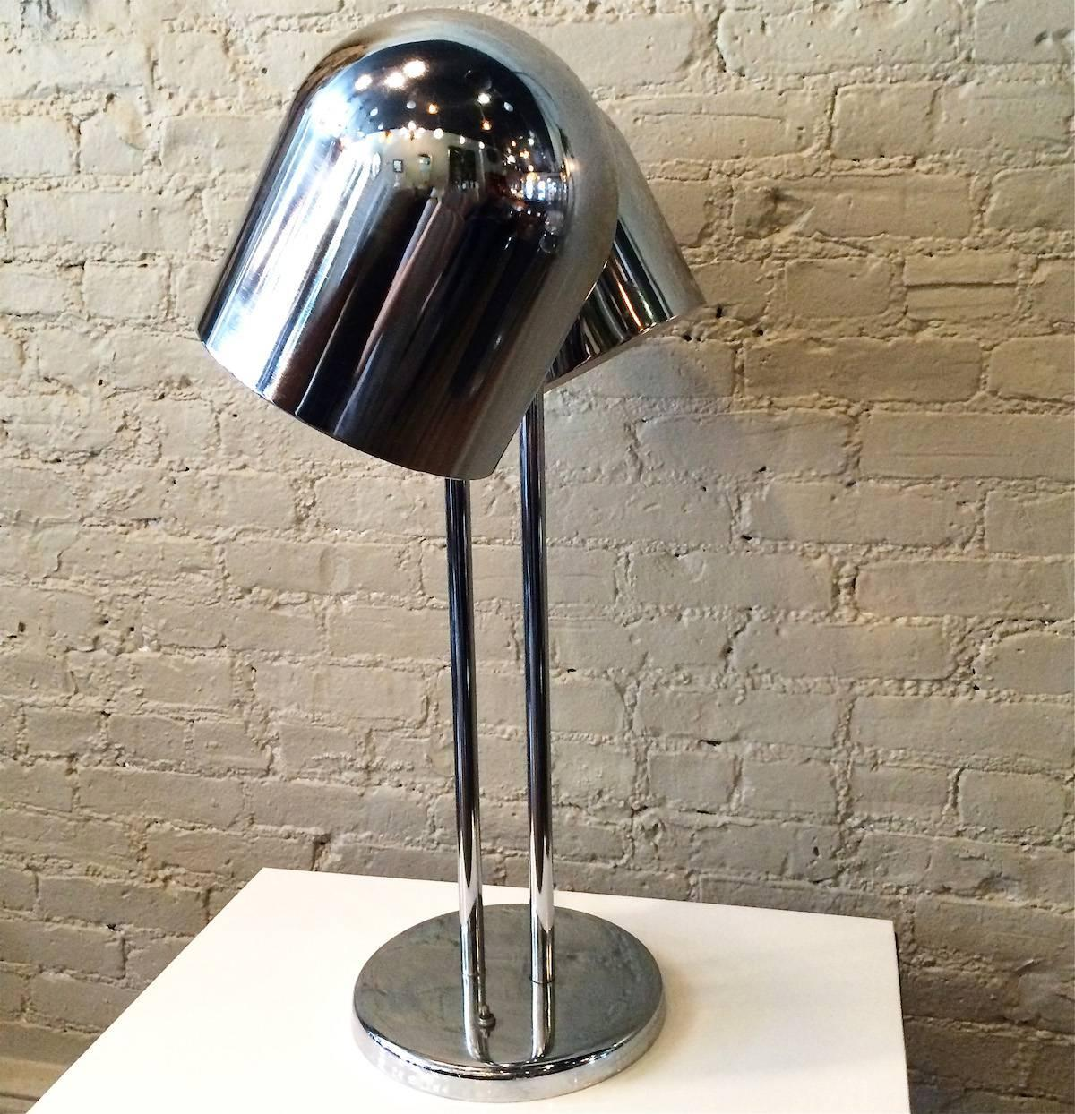 Mid Century Modern Double Headed Chrome Desk Lamp By