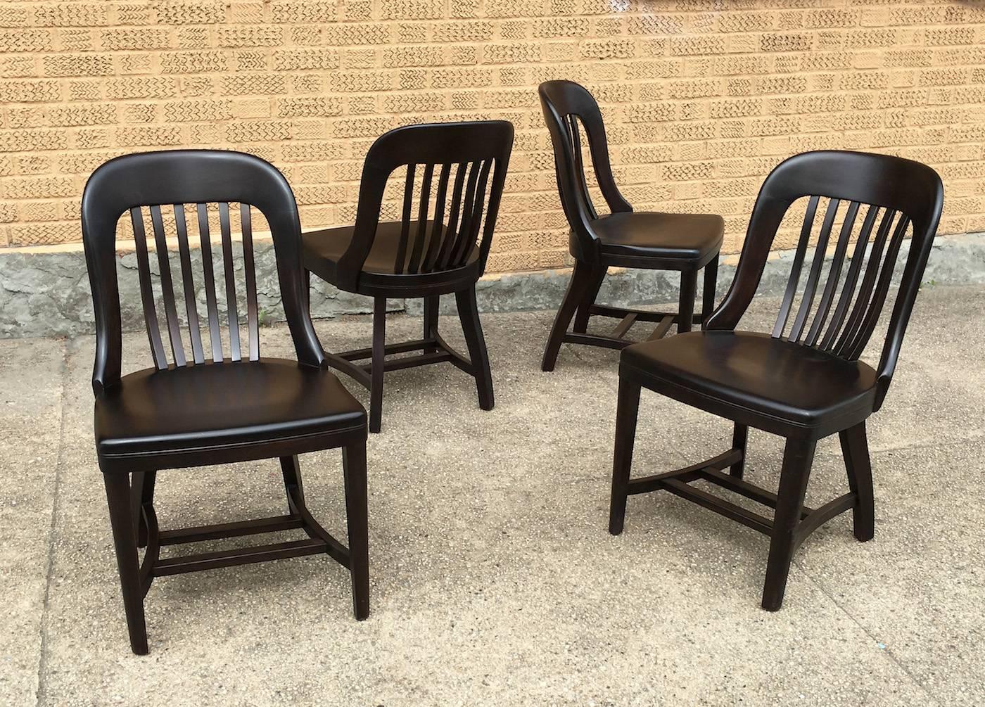 Pair Ebonized Gunlocke Bank of England Side Chairs For