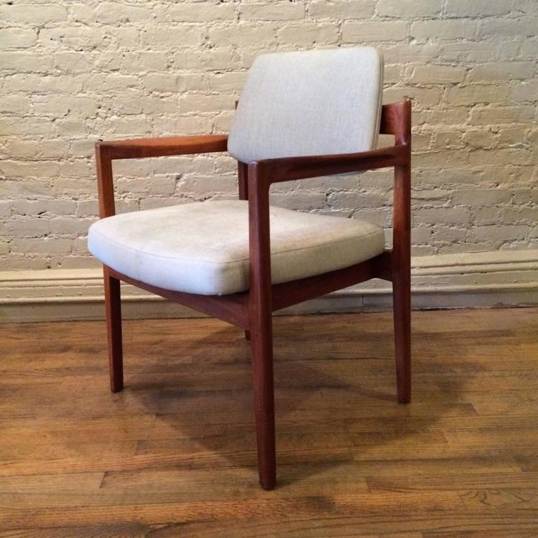 Mid-Century Modern Teak Upholstered Armchair By Jens Risom