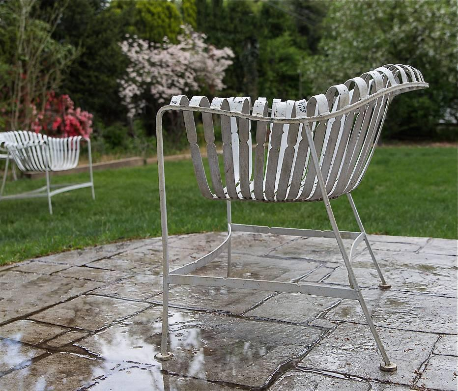 Rare Russell Woodard Sculptura Wrought Iron Outdoor Garden Patio Dining Set For Sale At 1stdibs
