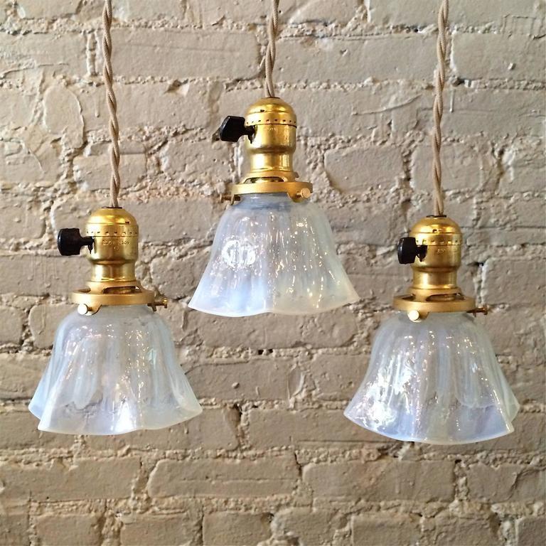 Petit Paris Glass Pendant Light For Sale: Petite Ruffled Opaline Glass Pendant Lights For Sale At