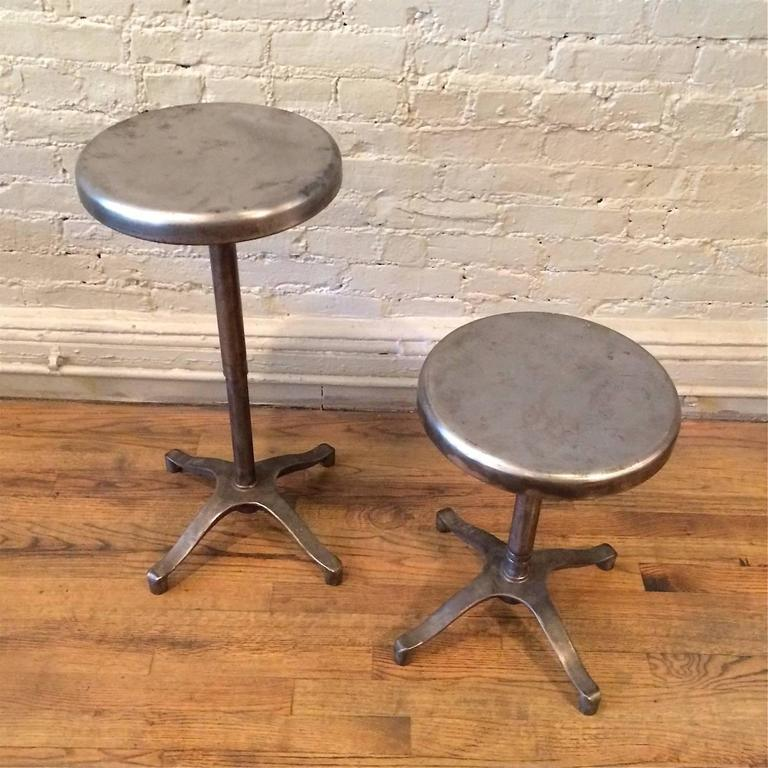 Pair Of Industrial Brushed Steel Adjustable Pedestal