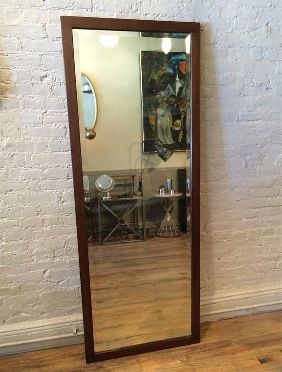Craftsman, oak frame, full length, beveled mirror, circa 1930s.