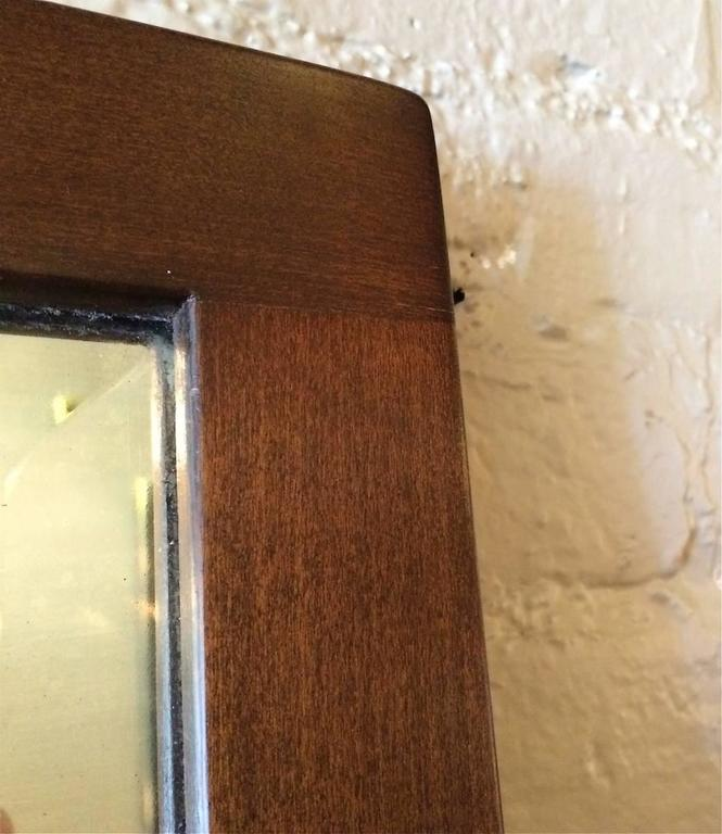 Craftsman Oak Frame Full Length Beveled Mirror In Good Condition For Sale In Brooklyn, NY