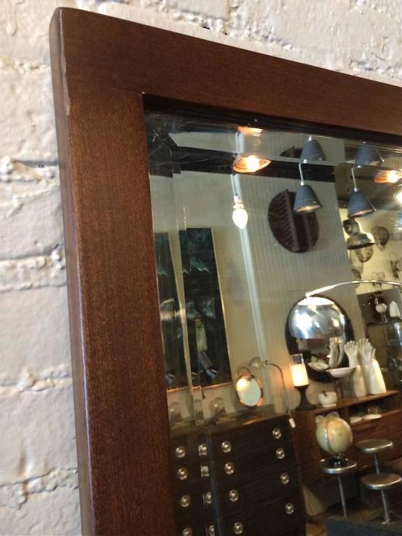 American Craftsman Oak Frame Full Length Beveled Mirror For Sale