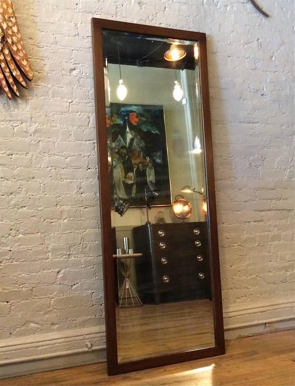 American Craftsman Craftsman Oak Frame Full Length Beveled Mirror For Sale