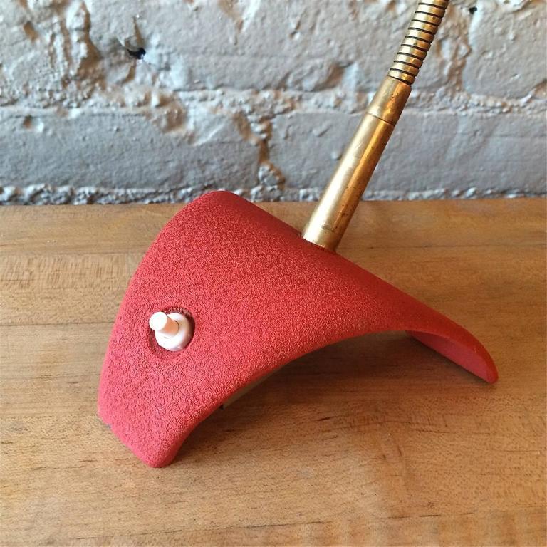 Mid-20th Century Mid Century Modern Red Gooseneck Desk Lamp For Sale