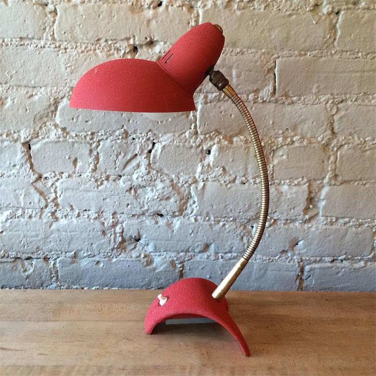 French Mid Century Modern Red Gooseneck Desk Lamp For Sale