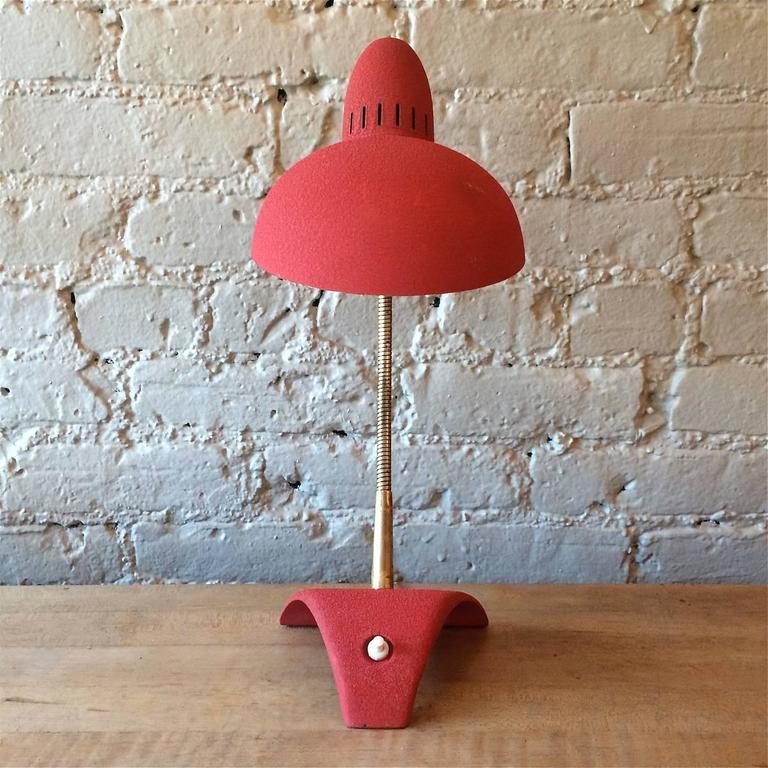 Painted Mid Century Modern Red Gooseneck Desk Lamp For Sale