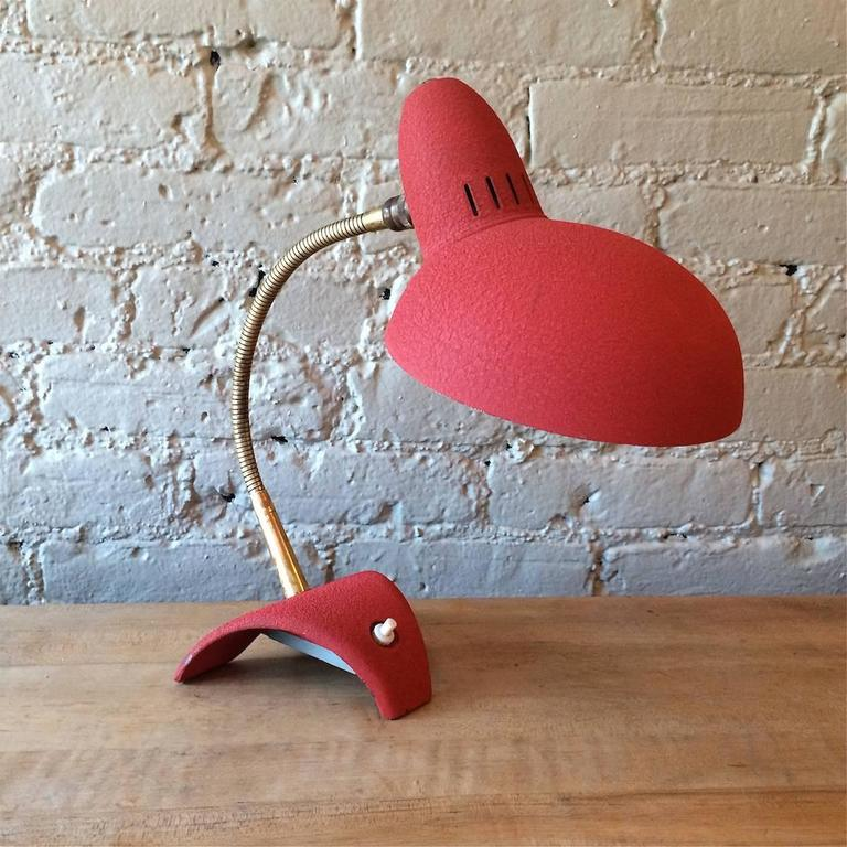 Mid-Century Modern Mid Century Modern Red Gooseneck Desk Lamp For Sale