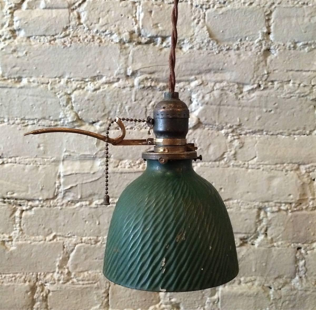 green x mercury glass pendant light with