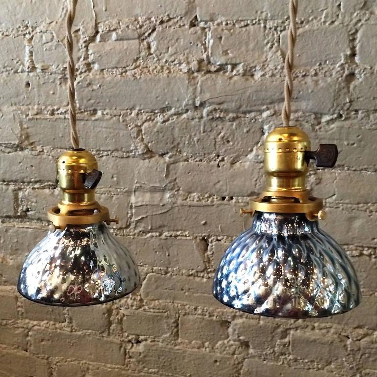 Pair Of Pee Light Blue Mercury Glass Pendant Lights With Brass Turnkey Ers Are Newly