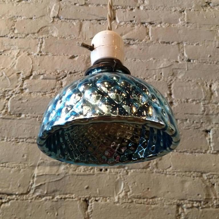 Petit Paris Glass Pendant Light For Sale: Petite Blue Quilted Mercury Glass Pendant Light With
