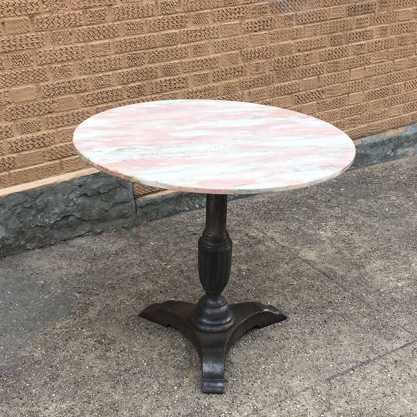The Foundry Ii Cafe Rollins Dining Table Art Furniture: 1930s Round Pink Marble And Cast Iron Bistro Café Pedestal