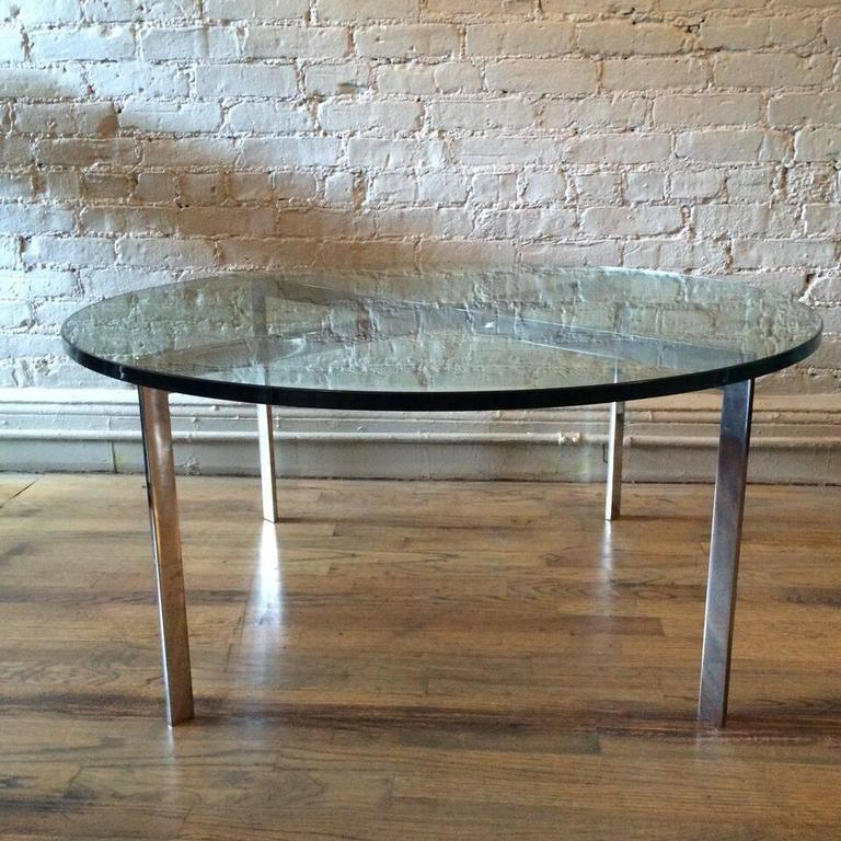 Mid-20th Century Chrome X-Base Coffee Table with Green Glass Top For Sale