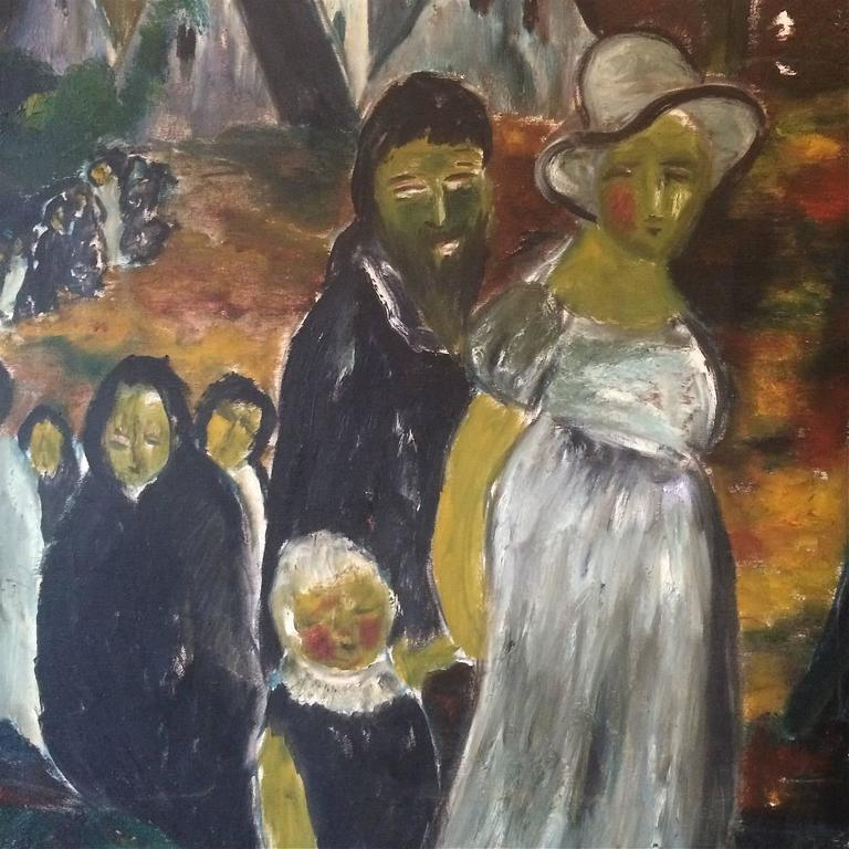 Mid-20th Century Large Danish Folk Art Church Procession Painting, circa 1960s For Sale