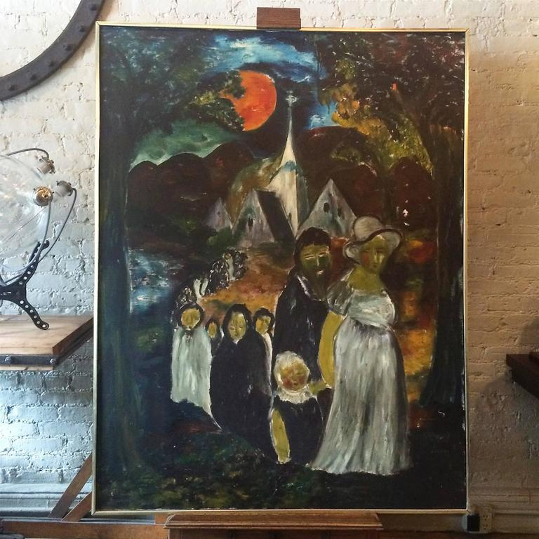 American Large Danish Folk Art Church Procession Painting, circa 1960s For Sale