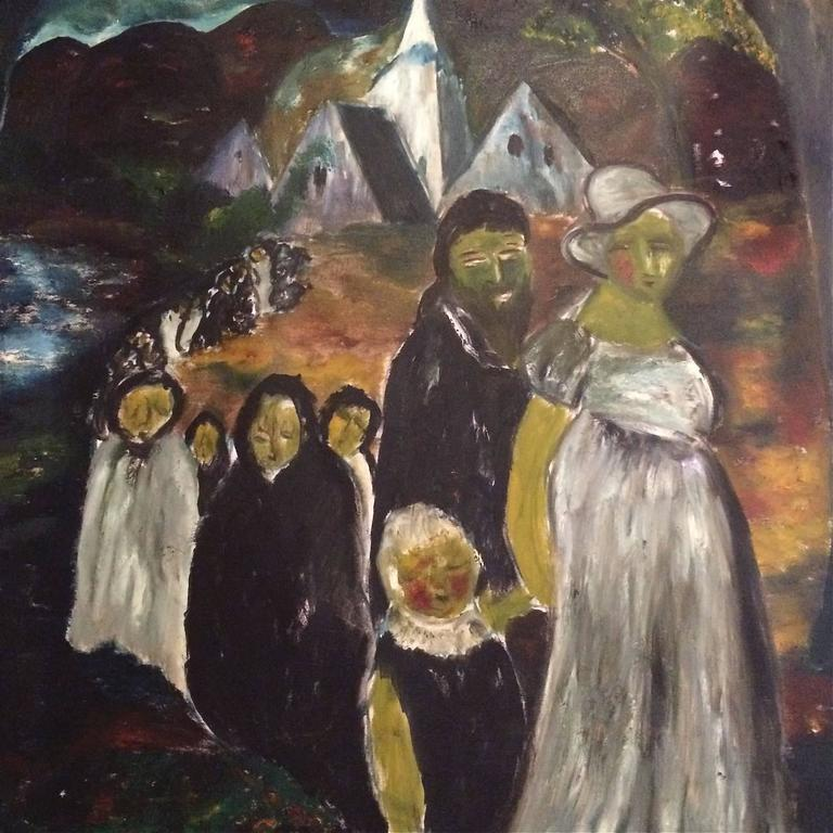 Large Danish Folk Art Church Procession Painting, circa 1960s In Good Condition For Sale In Brooklyn, NY