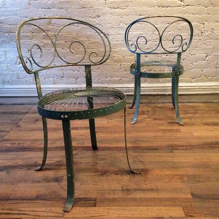 Set Of Green Wrought Iron Scroll Back Garden Chairs For