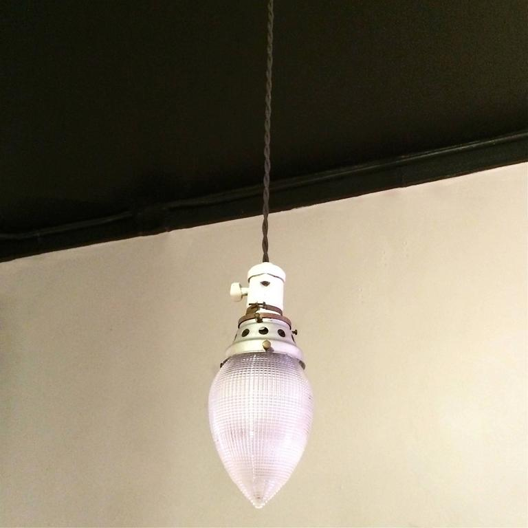 Industrial teardrop holophane glass pendant lights for sale at 1stdibs industrial teardrop shape holophane glass pendant lights featuring porcelain sockets with paddle switches aloadofball Images