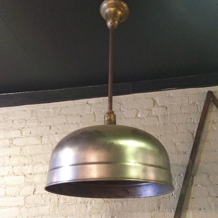 Industrial brushed steel pendant light by Brunswick Co. with dome shade on a pole & Industrial Brushed Steel Brunswick Dome Pendant Light For Sale at ...