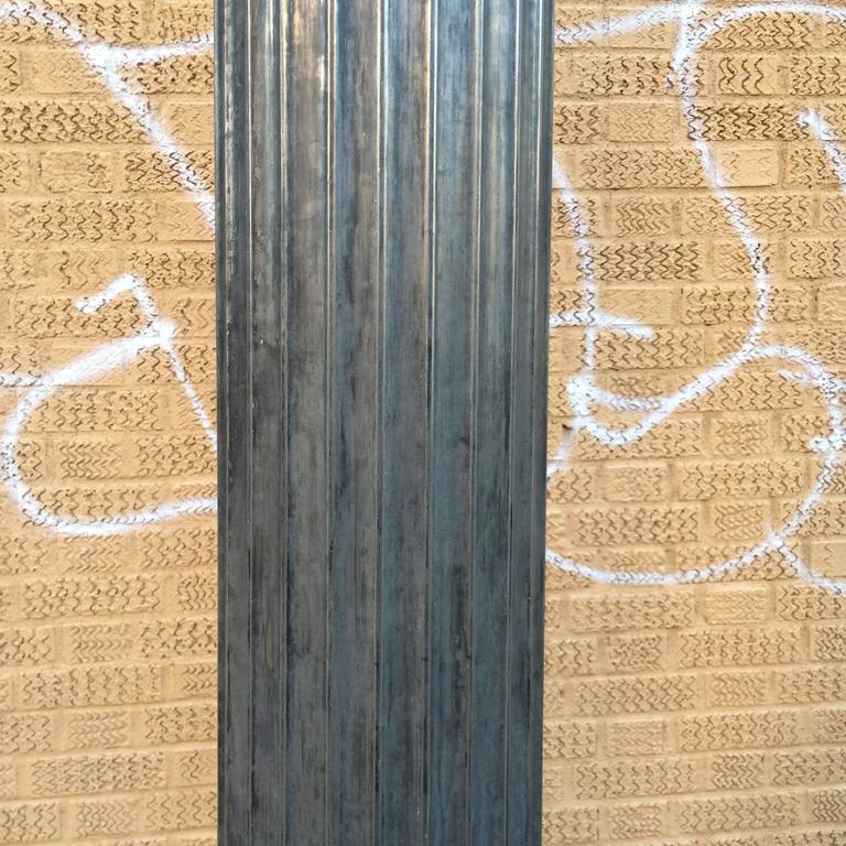 Early 20th Century Pair of Architectural Gunmetal Steel Fluted Columns For Sale