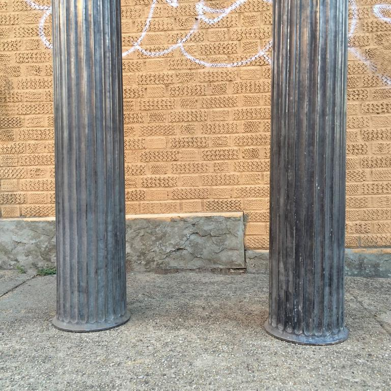 American Pair of Architectural Gunmetal Steel Fluted Columns For Sale