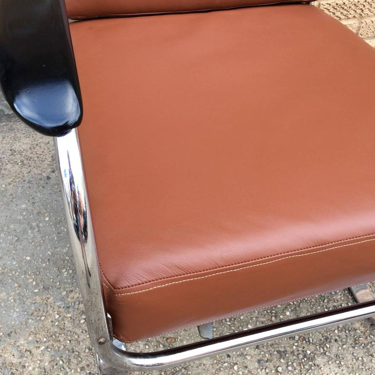 Machine Age KEM Weber for Lloyd Chrome and Leather Lounge Chair 7