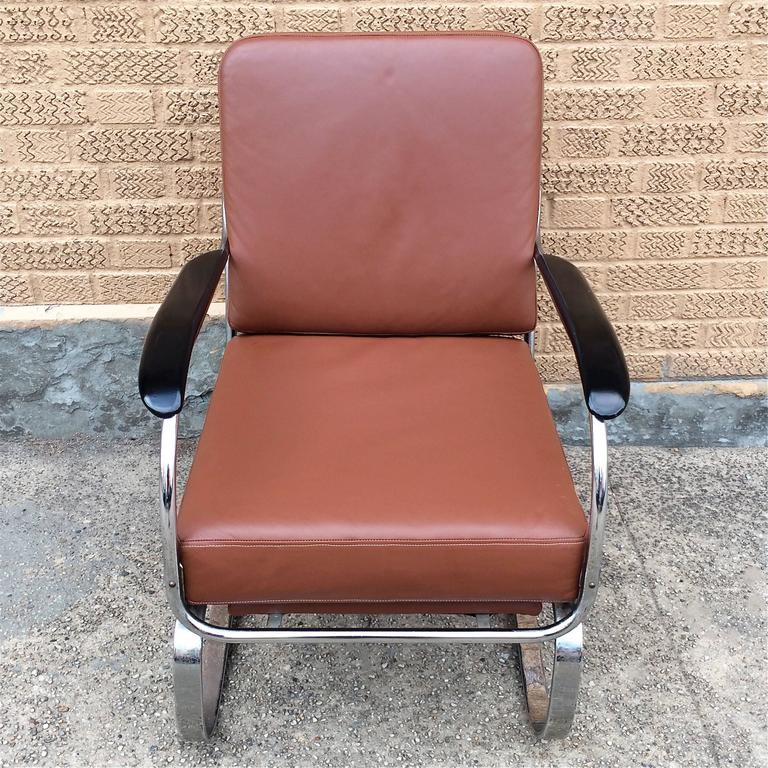 Machine Age KEM Weber for Lloyd Chrome and Leather Lounge Chair 5