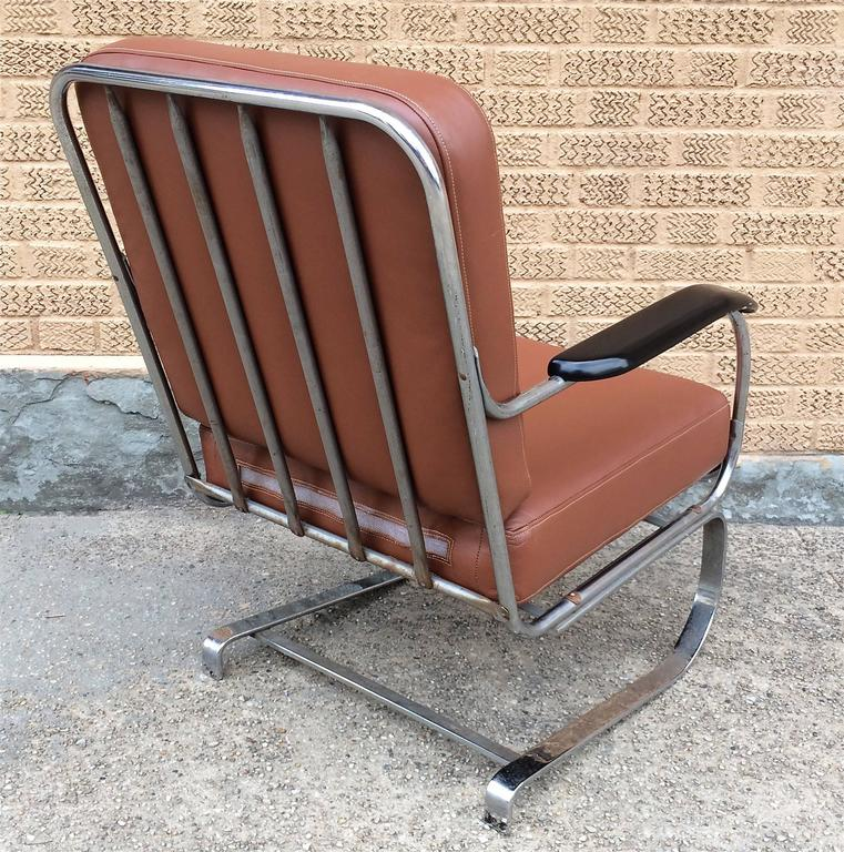 Machine Age KEM Weber for Lloyd Chrome and Leather Lounge Chair 4