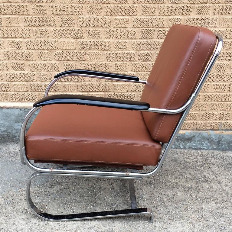 Machine Age KEM Weber for Lloyd Chrome and Leather Lounge Chair 3