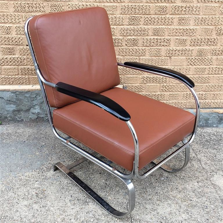 Machine Age KEM Weber for Lloyd Chrome and Leather Lounge Chair 2